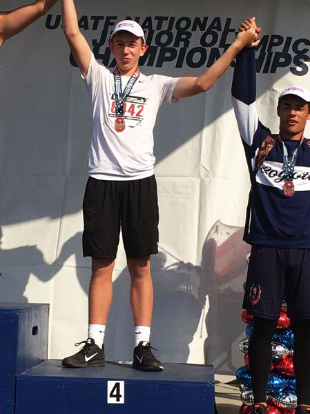 SUBMITTED PHOTO - Asher Krauel of the Sherwood Youth Track Club took fourth place in the boys ages 15-16 javelin event at the National  Junior Olympic Championships.