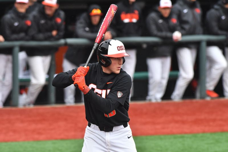 PHOTO COURTESY OF OREGON STATE UNIVERSITY - Zak Taylor drew a key leadoff walk in the ninth inning of Game 2 of the National Championship series. He also had two hits in the Beavers decisive Game 3 victory.