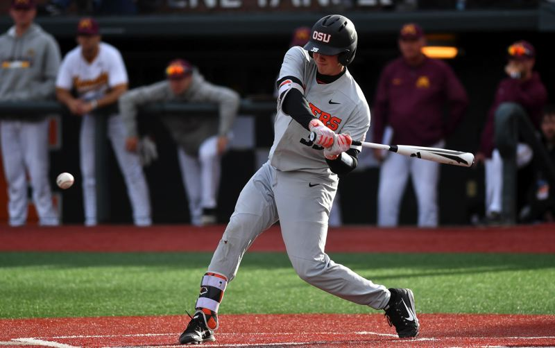 PHOTO COURTESY OF OREGON STATE UNIVERSITY - Adley Rutschman, a 2016 Sherwood graduate, had a record 17 base hits in the College Baseball World Series and was named series MVP.