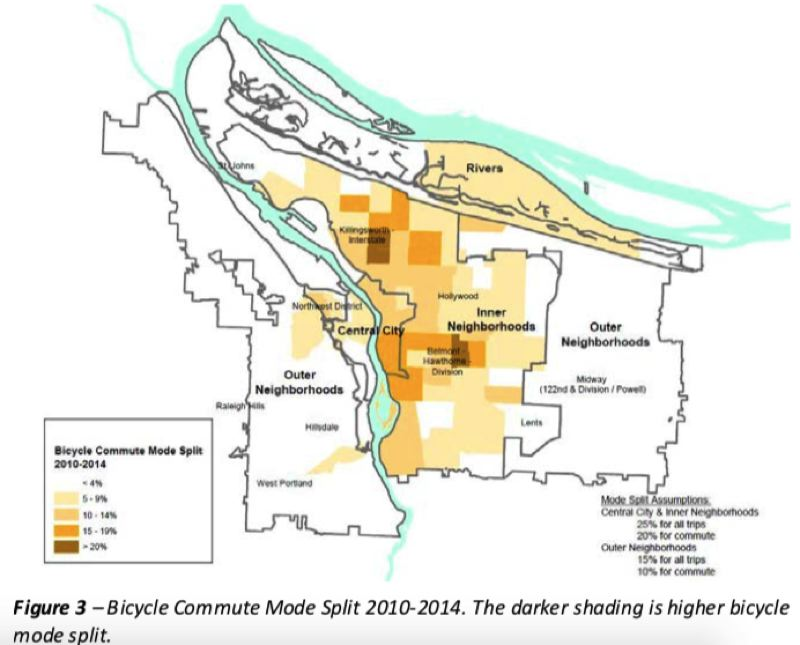 COURTESY BUREAU OF PLANNING AND SUSTAINABILITY - To meet the city's aggressive goal for bicycle use by 2030, the entire city would have to equal or exceed the current rate in high-use neighborhoods around Southeast Hawthorne and North Williams. Bicycling east of I-205 and in the St. Johns area is minimal right now.