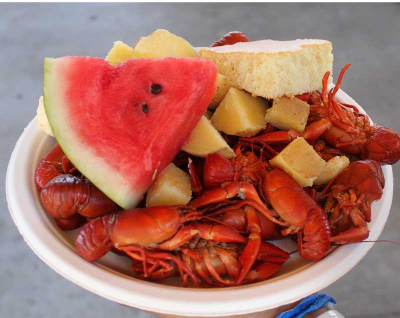 PHOTO BY JENNIFFER GRANT - Crack a full pound of crawdads with a festival plate.