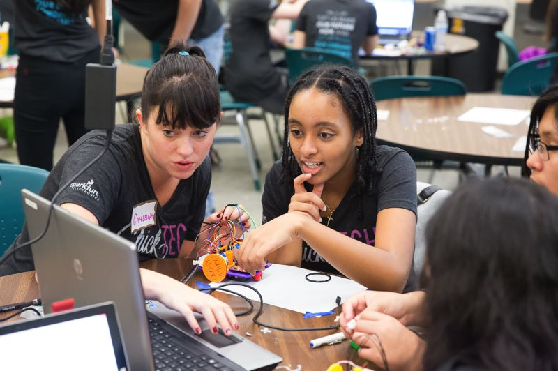 COURTESY: CHICKTECH - The nonprofit Chicktech Portland works with high school girls in a year-long program to help boost the number of women in science, technology engineering and math fields, known as STEM. It is one of several nonprofits here working to bridge the gender gap in STEM fields.