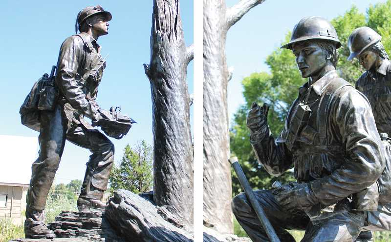 JASON CHANEY - Damage to a chainsaw blade (left) and a handheld radio cord (right) will be repaired while other security-related improvements are planned for the statue.