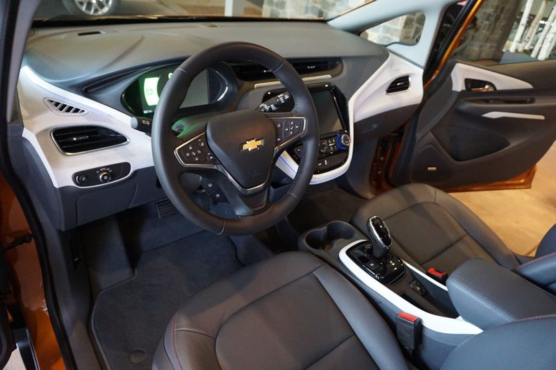 PORTLAND TRIBUNE: JEFF ZURSCHMEIDE - The interior of the 2018 Chevy Bolt offers plenty of room and comfort fror the driver and front seat passenger.