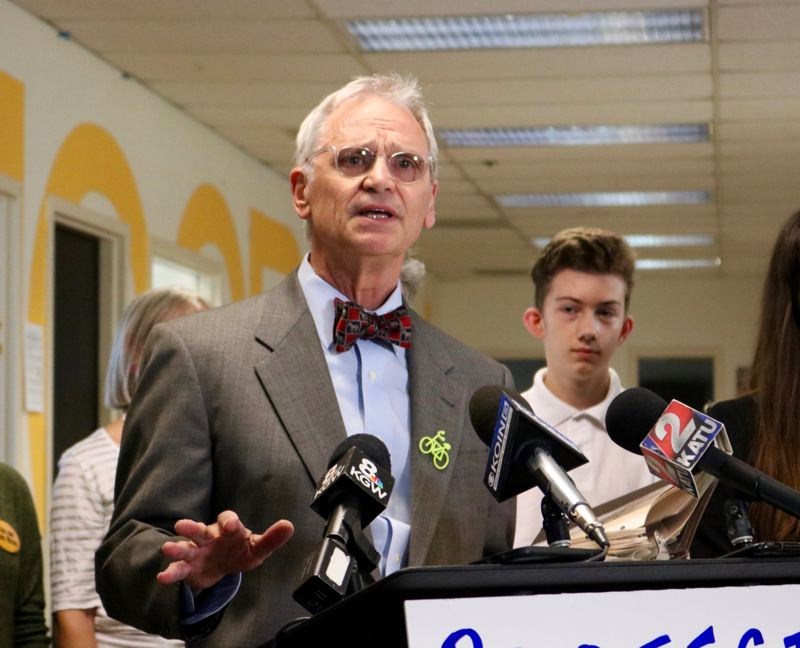 TRIBUNE PHOTO: ZANE SPARLING - Rep. Earl Blumenauer celebrated his 70th birthday the day before the press conference on Aug. 16.