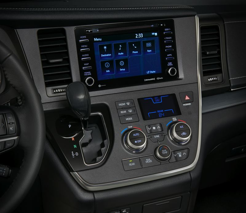 TOYOTA MOTOR CORPORATION - Controls are easy to reach and use in the 2018 Toyota Sienna.