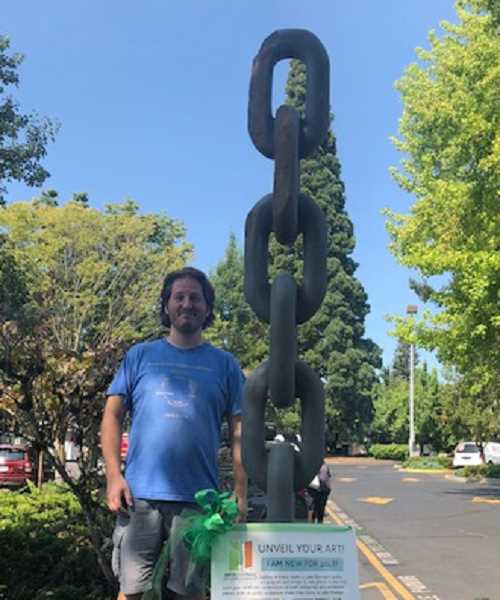 PHOTO COURTESY OF THE ARTS COUNCIL OF LAKE OSWEGO - Wilsonville artist Benjamin C. Mefford's basalt sculpture 'Know Time' will be officially unveiled Saturday as part of the 'Unveil Your Art!' celebration in downtown Lake Oswego. The piece, which will sit at the corner of Fourth Street and A Avenue, is one of 15 new additions to the city's Gallery Without Walls.