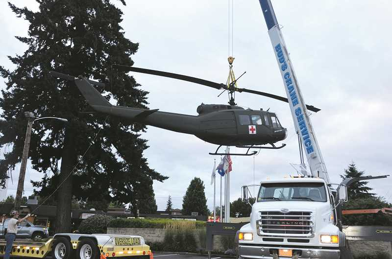 SUBMITTED PHOTO: LOUISE DODGE - Canby's UH-1 helicopter, Huey, returned to the Vietnam Era Veterans Memorial on Aug. 11.