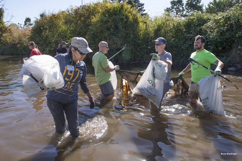 PHOTO COURTESY: JCWC - During last year's cleanup, volunteers removed 5.3 tons of debris along a 7-mile stretch of Johnson Creek.