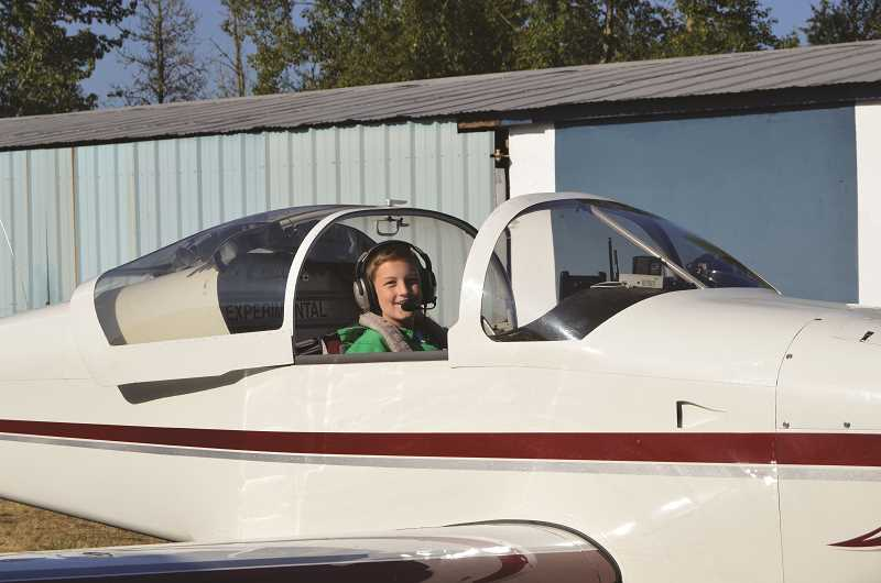 PIONEER PHOTO: CINDY FAMA - Wyatt Holliday is ready for take-off.