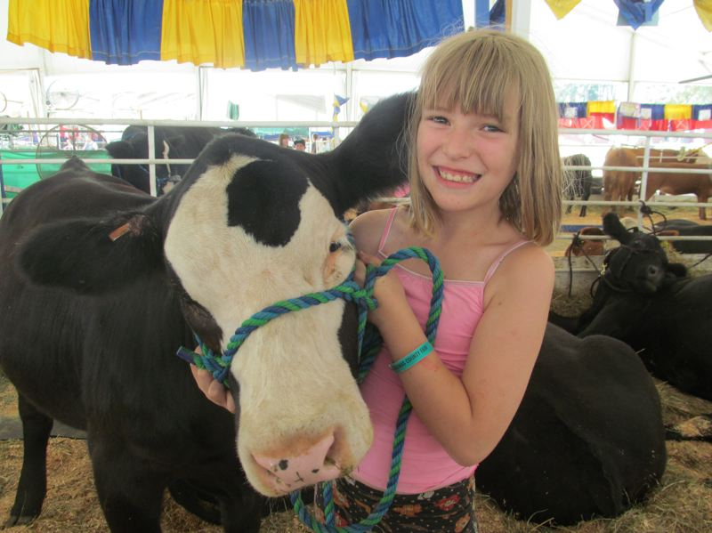 PHOTO BY DICK TRTEK - Reagan Schwenk, 10, poses with her prize-winning Simmental-Angus cross heifer calf Ophelia, at the Clackamas County Fair.