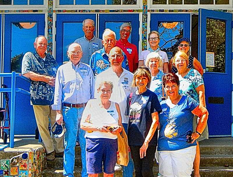 ELIZABETH USSHER GROFF - At the 60th year reunion were - back row: Jack Rhinehart, Gary Linn, Gene Shannon, Carol Hillesland Grant, Judy Fretta Wharton; middle row: Pat Miles, Don Wolf (behind), Richard Mayor, Claudia Ingalsbe Veddvic, Nancy Baker Hockert; and front row: Bev McCann, Christy Page Durham, Sharon Lockwood Lamvik. Attendees not pictured: Nancy VanWinkle Beaver and Doug Muhler.