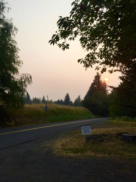MATT DEBOW: OUTLOOK PHOTO - The sun sets outside the Corbett Grange on Wednesday, Aug. 15. The red hue was caused by fires coming in from fires around the Northwest.