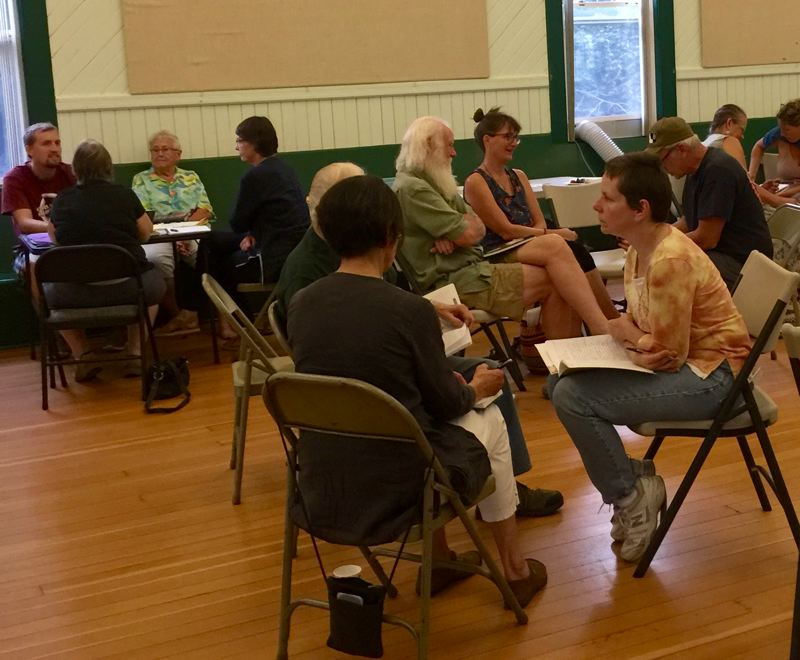 MATT DEBOW: OUTLOOK PHOTO - Participants discuss the Eagle Creek Fire on Wednesday, Aug. 15. The Eagle Creek Fire started around this time last year.