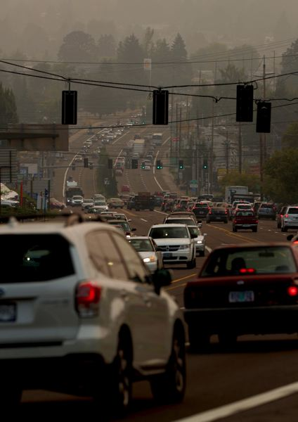 TIMES PHOTO: JAIME VALDEZ - No, this isn't LA, it's Portland under a pall of smoke from Western wildfires.