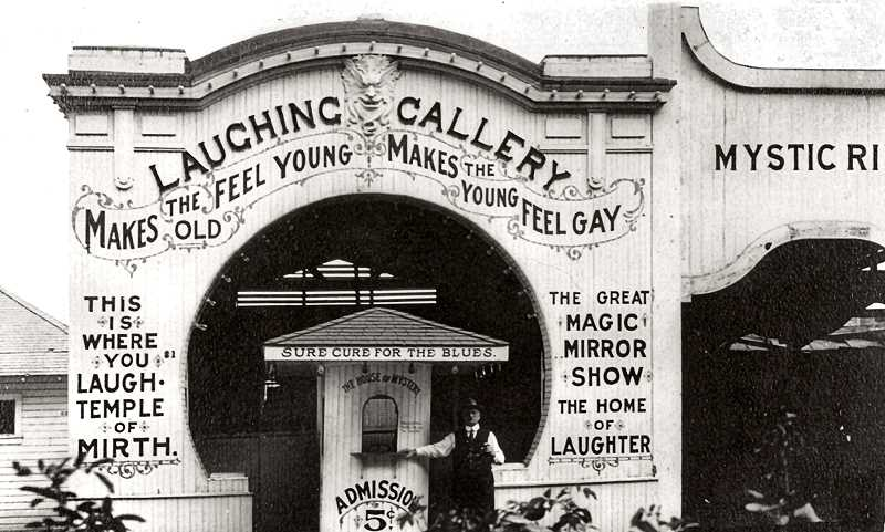 COURTESY OF SMILE HISTORY COMMITTEE - Need a lift when you got the blues? Time to visit the Laughing Gallery! While the front of this concession is welcoming to the customer, the grimace from the vendor - in 1918, at Oaks Park - isnt.
