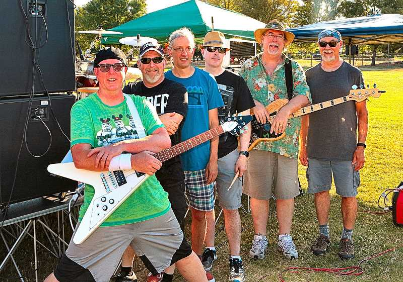 DAVID F. ASHTON - The local Mars Rovers band - Larry Roberts, Shawn Patterson, John David Duncan, Chris Moran, Richard Kiely, and Skip Landis - posed for THE BEE before going on stage to play their first set at Brentwood Park.