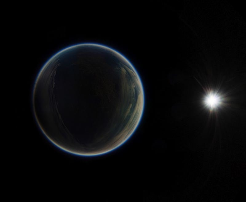 COURTESY: PORTLAND STATE UNIVERSITY - A stereographic image created from weather balloon panoramic shots from 100,000 feet above the surface shows Oregon in darkness during the 2017 eclipse.