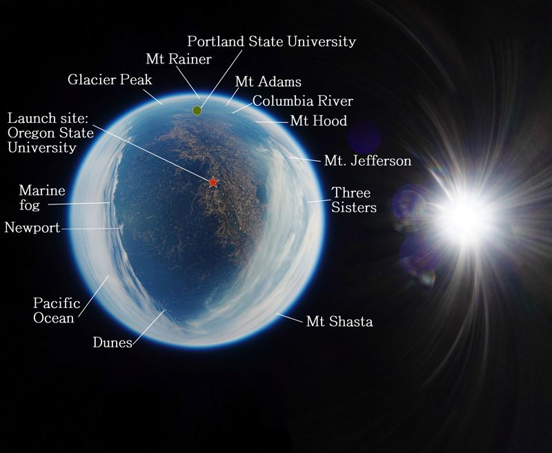 COURTESY PHOTO: PORTLAND STATE UNIVERSITY - The images captured by the high-flying weather balloons show a portion of the Earth as the moon passed in front of the sun on Aug. 21, 2017.