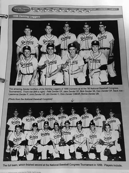 COURTESY TODD AIKEN - Ron Aiken, pictured in the bottom photo in theback row, under the arrow, played for the Deming Loggers semi-pro team in 1956 out of Bellingham, Washington. Aiken helped lead the Loggers to the semi-pro national championship, helping Aiken earn a contract with the New York Yankees' minor league team in Modesto, California.