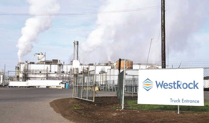 GRAPHIC FILE PHOTO - The paper mill in Newberg has sat idle since fall of 2015, soon after WestRock purchased it from SP Fiber Tech.