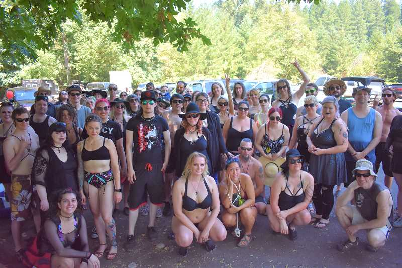 ESTACADA NEWS PHOTO: EMILY LINDSTRAND - Many people participated in last weekend's goth float on the Clackamas River. The group met at Barton Park before floating to Carver Park.