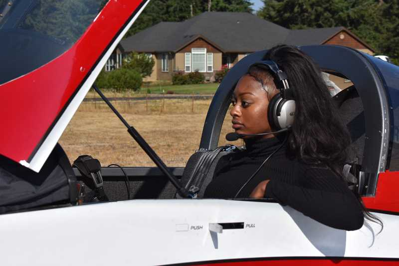 ESTACADA NEWS PHOTO: EMILY LINDSTRAND - Shyla Williams, 18, attended the e Experimental Aircraft Association Air Academy in Oshkosh, Wis., earlier this summer. She credits her interest in aviation to a Young Eagles flight several years ago.