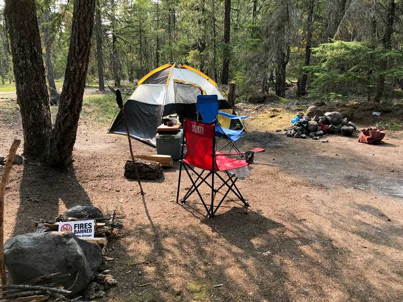 CONTRIBUTED PHOTO: SUSAN GRANBERY - A multi-agency national fire prevention team has been visiting campsites in the Mt. Hood National Forest to share information about the burn restrictions in place.