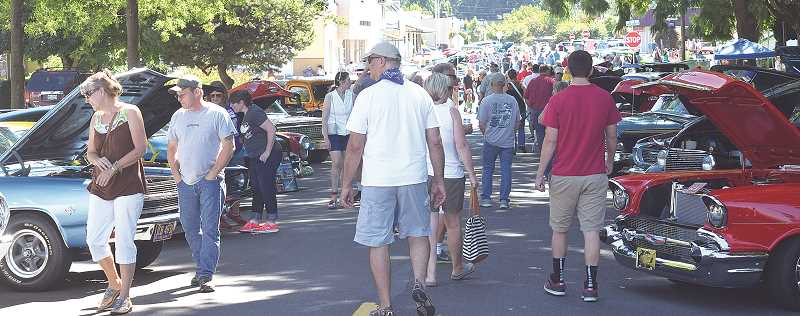 The heart and soul of big weekend is the cruise-in, which attracts hundreds of classic cars and thousands of visitors to downtown Canby.