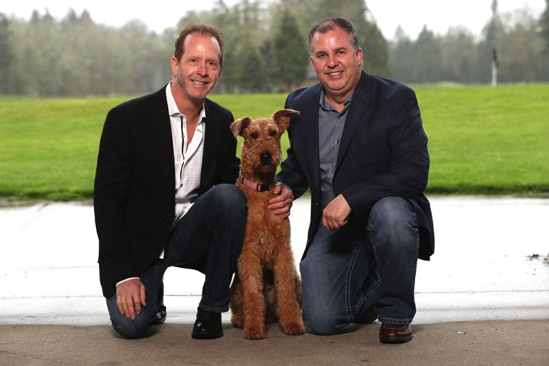COURTESY: BC CUSTOM HOMES - BC Custom Construction CEO Bill Winkenbach and President Scott Bowles with Winkenbach's dog Abigail.