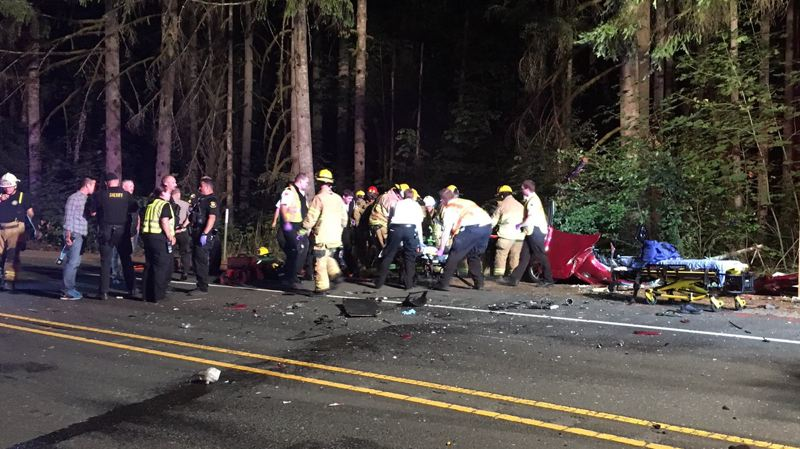 COURTESY PHOTO: WASHINGTON COUNTY SHERIFF'S OFFICE - First responders were dispatched to the scene of a deadly crash on Highway 26 in the Buxton area late Thursday night.