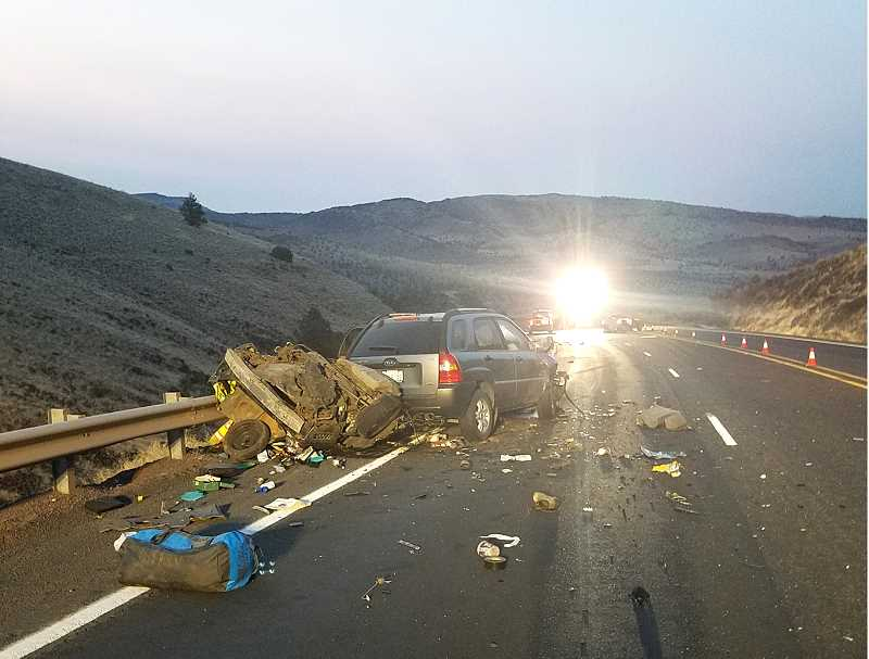 SUBMITTED PHOTO - A Mazda Protege, at left, driven Sarah Marie Steffler, 33, crossed over the centerline and collided head-on with a Kia Sportage early on Aug. 17. Both occupants of the Mazda died, as well as a juvenile female in the Kia.