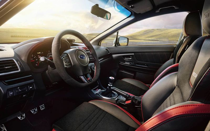 SUBARU NORTH AMERICA - The interior of the 2018 Subaru WRX STI Type RA is basic and functional, with special trim marking its limited production.