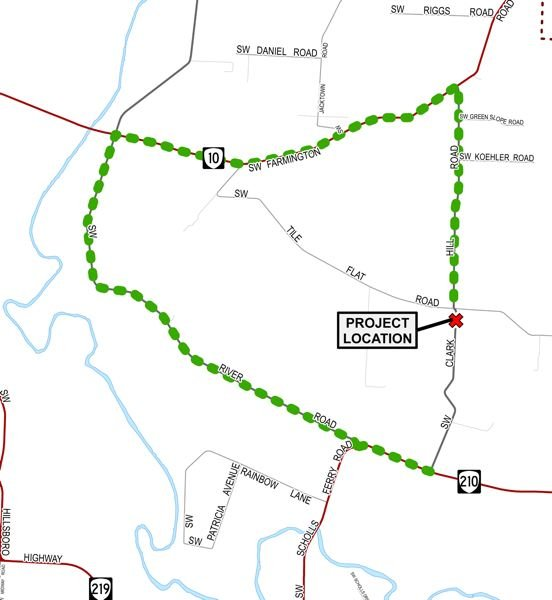 COURTESY MAP: WASHINGTON COUNTY DEPARTMENT OF LAND USE & TRANSPORTATION - A project map marks with a red X where Clark Hill Road will close beginning Sept. 7. The detour route is marked in green.