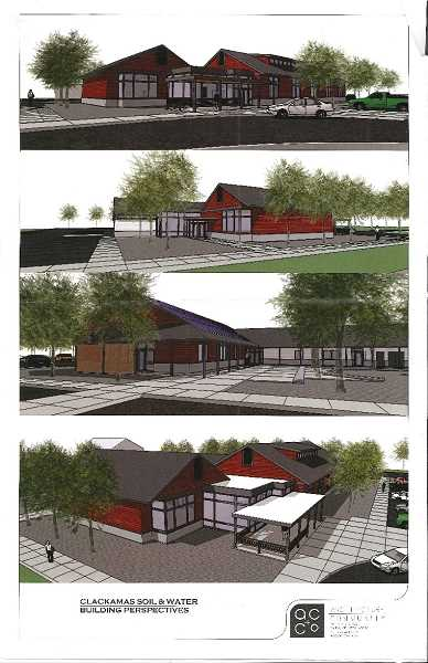 Renderings of the new Clackamas Soil and Water Conservation District headquarters that may be built near Beavercreek.