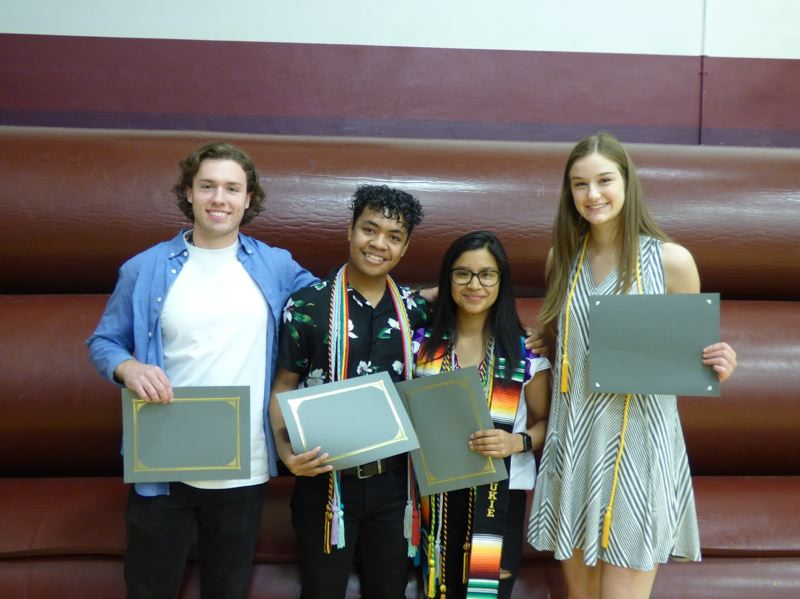 SUBMITTED PHOTO - Mustang Scholarship winners are, left to right, Casey Gardner, Gideon Yamada, Odalis Aguilar-Aguilar and Alev Margaret Ersan.