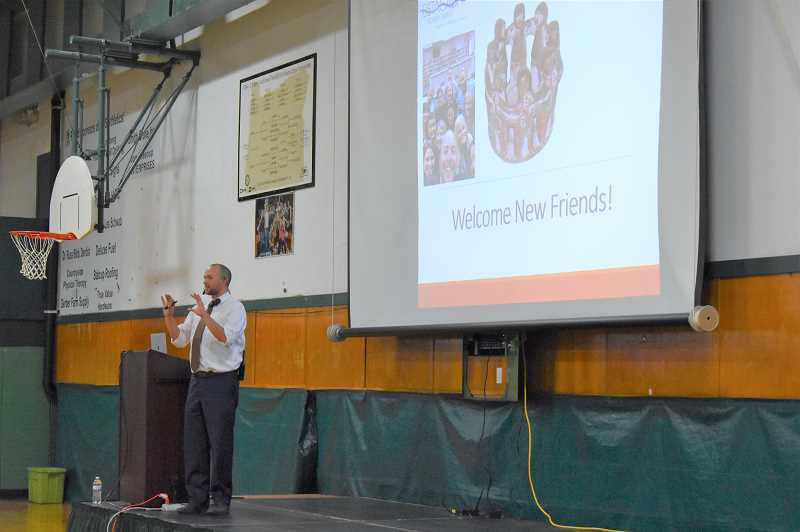 ESTACADA NEWS PHOTO: EMILY LINDSTRAND - Estacada Superintendent Ryan Carpenter addresses members of the school community on Tuesday, Aug. 28.