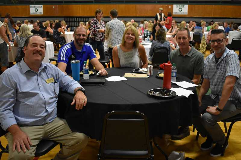 ESTACADA NEWS PHOTO: EMILY LINDSTRAND -  Mayor Sean Drinkwine joined Estataca School District employees during a gathering on Tuesday, Aug. 28.