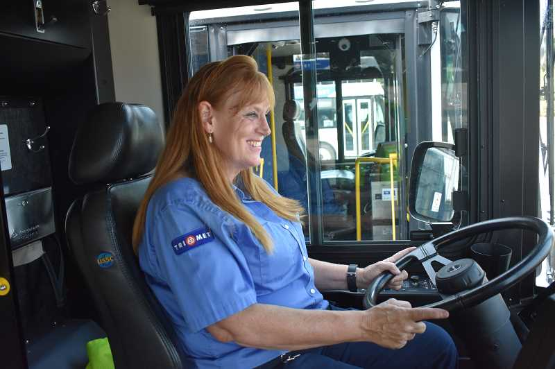 ESTACADA NEWS PHOTO: EMILY LINDSTRAND - Livina Austin drives Tri Met Line 30, which connects Estacada to Clackamas Town Center, and downtown Portland during the weekday morning and evening rush hours.