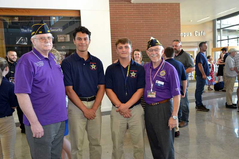 CONTRIBUTED PHOTO: FLYNN PHILLIPS - Past American Legion Carl Douglas Post Commander Gene Hellickson, law enforcement camp cadets Gabriel Martinez and Nicholas Keller and Carl Douglas Post Adjutant and Historian Flynn Phillips are pictured on graduation day for the American Legion Department of Oregon Junior Law Career Camp.