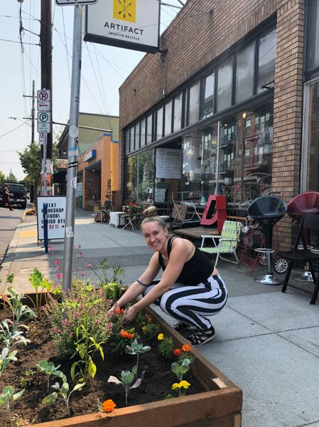COURTESY JOSHUA RYAN - Leah Meijer, owner of Artifact Creative Recycle, is shown here by the new community garden.