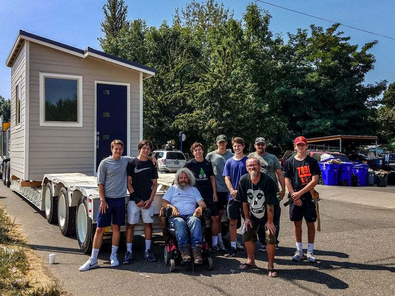 COURTESY: STONE BRIDGE HOMES NW - Students from Oregon Episcopal School joined with Stone Bridge Homes Northwest and Pacific Lumber & Truss Co. to build a 120 square-foot tiny house that was donated to Dignity Village earlier this month.