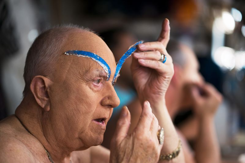 TRIBUNE PHOTO: KIT MACAVOY - Darcelle has been known for distinctive eyebrows, which Cole makes out of paper, foil and even — for an impromptu act on a tour boat in China — chewing gum wrapper. Cole says, whereas it took hours to prepare to be Darcelle in the early years, it's now a 20-minute process.