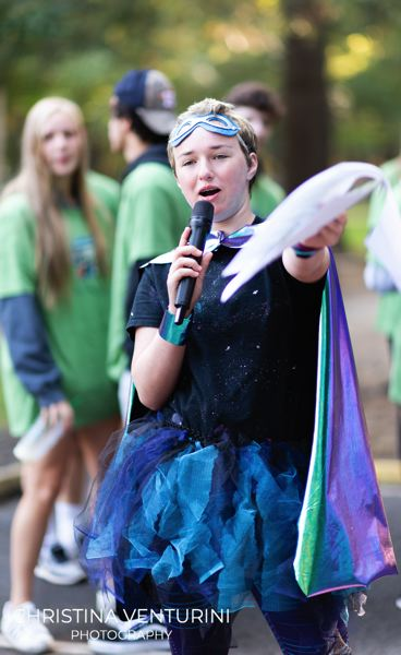 COURTESY PHOTO - Erin Morrison, of Hillsboro, emcees the annual Superhero run in Tigard on Aug. 18.