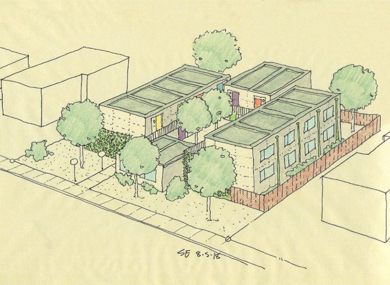 COURTESY: EMMONS MODULAR - A sketch of the King County Modular ImHomeToo Studios, designed by Stuart Emmons. It is one of two pilot projects that will be built in 2019.