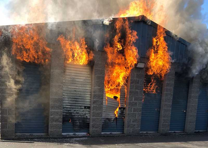 COURTESY PHOTO - Flame erupted at Secure Storage in Hillsboro on Sunday, Sept. 2. Crews managed to subdue the blaze, but not before it destroyed 18 units.