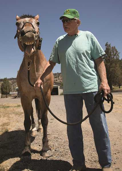 JAIME VALDEZ/PAMPLIN MEDIA GROUP   - Major smiles for the camera while going on a walk with Larry Kanzler in Prineville. Larry and his wife, Cheryl, both retired from Portland Police Bureau, bought Major, a former member of the mounted patrol unit.