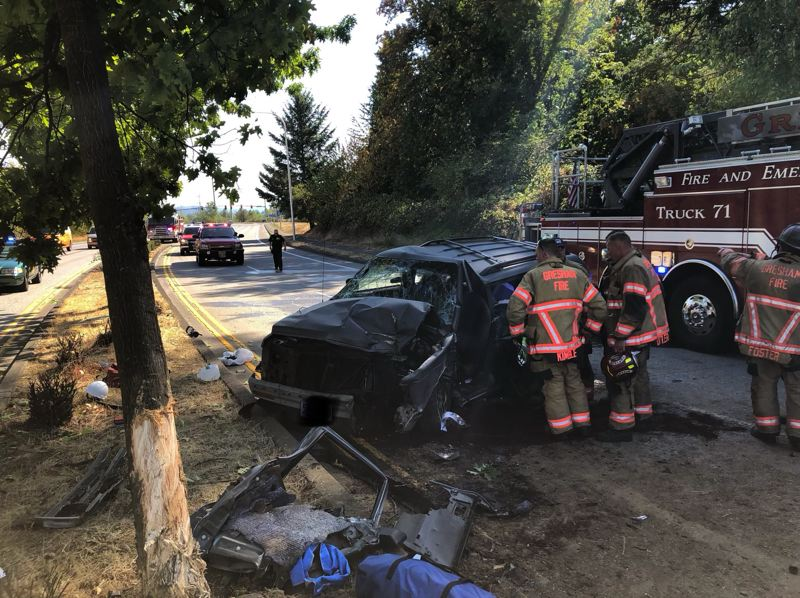 COURTESY PHOTO: MULTNOMAH COUNTY SHERIFF'S OFFICE - A driver was injured after he lost control of his SUV in Fairview.