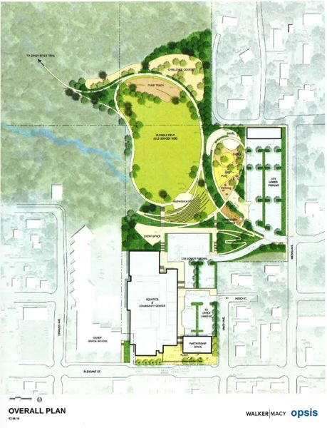 CONTRIBUTED PHOTO - The concept for the Sandy Community Campus utilizes not only building space but the former Cedar Ridge Middle School track area, which the city plans to make into a park area with sports fields and more.