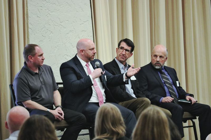 COURTESY: ICC/SEAN PHILBROOK - Speaking at the I-5 Bridge Summit were (from left) Clark Regional Emergency Services Agency division manager Scott Johnson, C-Tran CEO Shawn Donaghy, Portland Bureau of Planning and Sustainability senior economic planner Steve Kountz, and Port of Portland strategy and research director Scott Drumm.